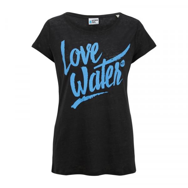 Love Water Shirt aus Leinen – schwarz