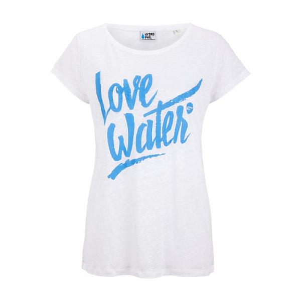 Love Water Shirt aus Leinen – weiss